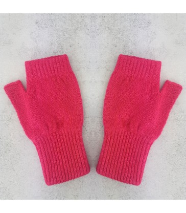 Hot Pink Lambswool Fingerless Mittens