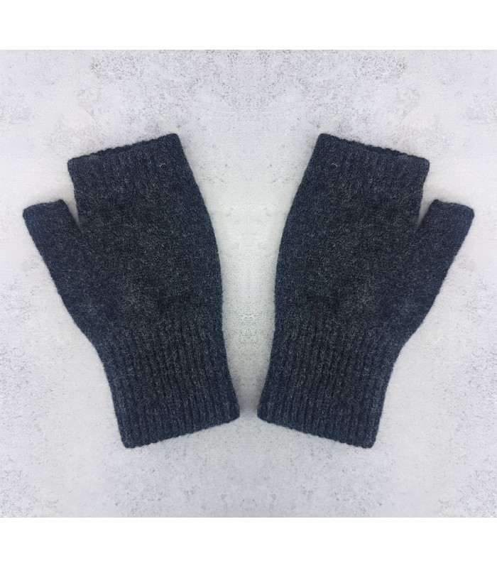 charcoal grey  Lambswool Fingerless Mittens