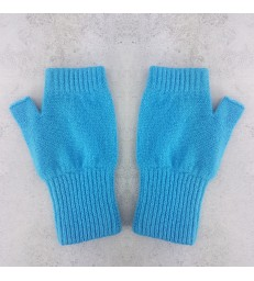 Aqua Lambswool Fingerless Mittens