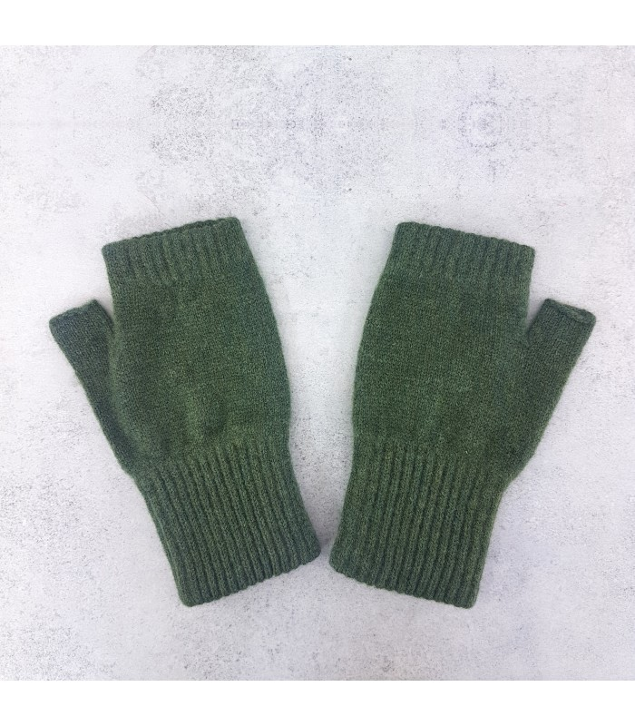 Olive Green Lambswool Fingerless Mittens