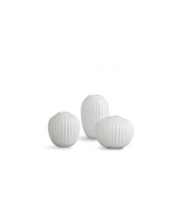 Set of 3 mini ceramic vases - white