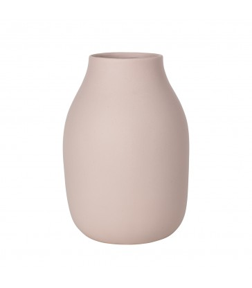 Pale Rose Pink Stoneware Flower Vase 20cm tall