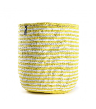 Large Basket Yellow and White Stripe