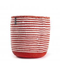 Red and White Stripe Basket Medium