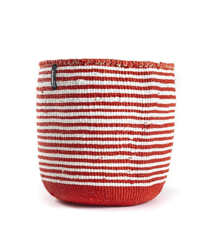 Red and White Stripe Basket  - Fairtrade eco friendly home storage