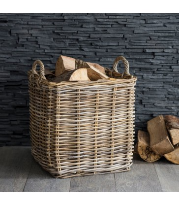 Large rattan log basket for beside your fire