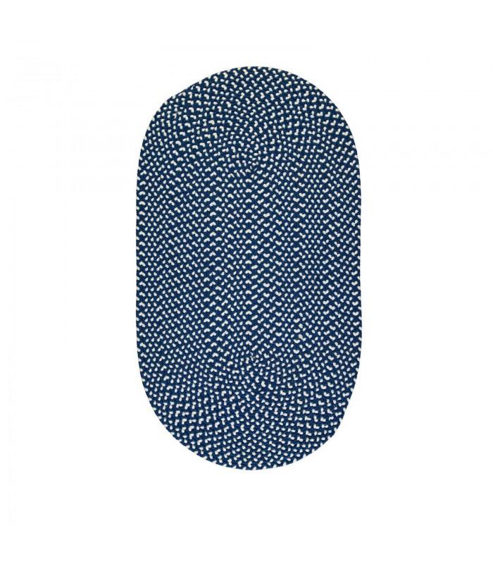 medium recycled plastic floor rug in midnight navy blue