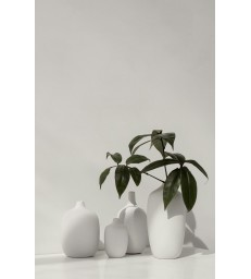 Tall Neck White Ceramic Vase 21 cm