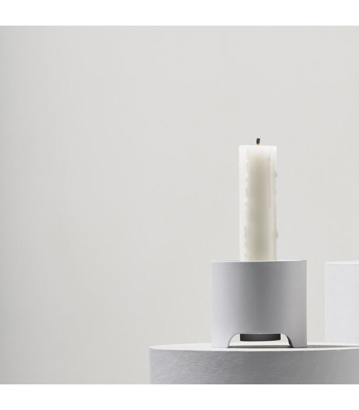 light grey metal modern candleholders