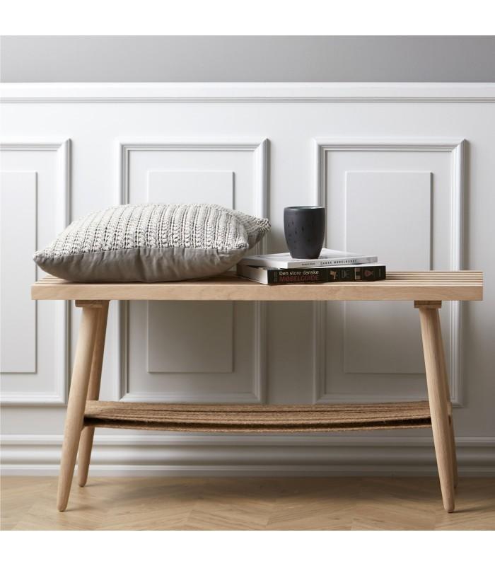 White washed oak bench