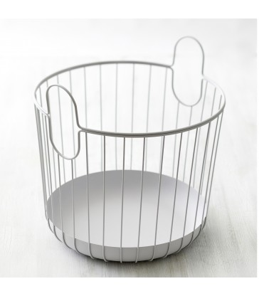 Pale Grey Wire Storage Basket