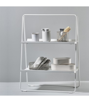 tall white shelf unit for countertop storage