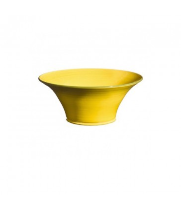 medium flared yellow ceramic bowl for kitchen and dining room