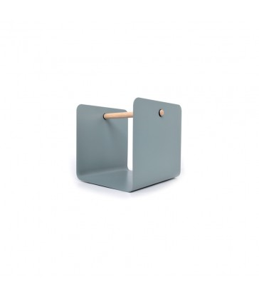 A grey painted steel magazine holder with a timber handle.