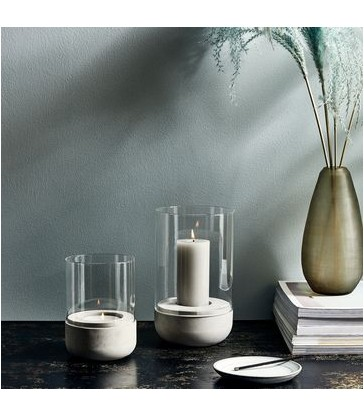 Hurricane Lamp with Concrete Base - 2 Sizes