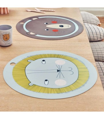 round lion themed cute kids place mat the blue door