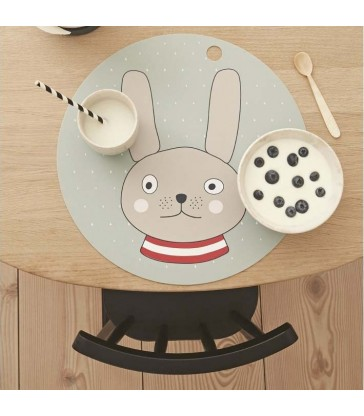 a cute rabbit with red stripe jumper place mat