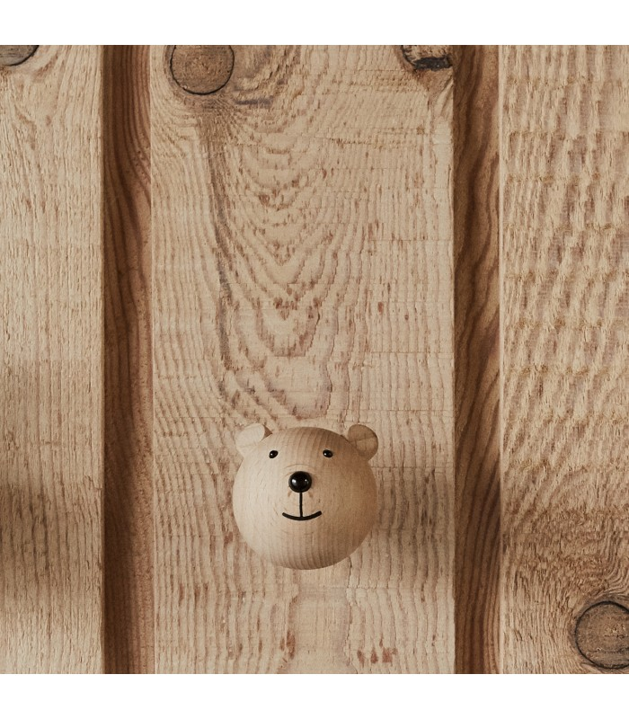 mini timber bear wall hook for childrens bedroom wall