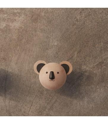 A mini koala wall hook made from timber.