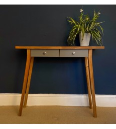 Oak Console Table with grey drawers