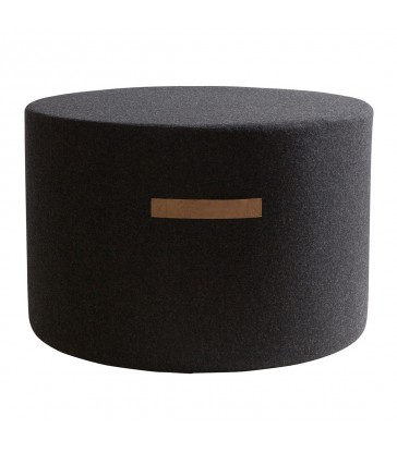 Round Black Wool Pouffe - Large