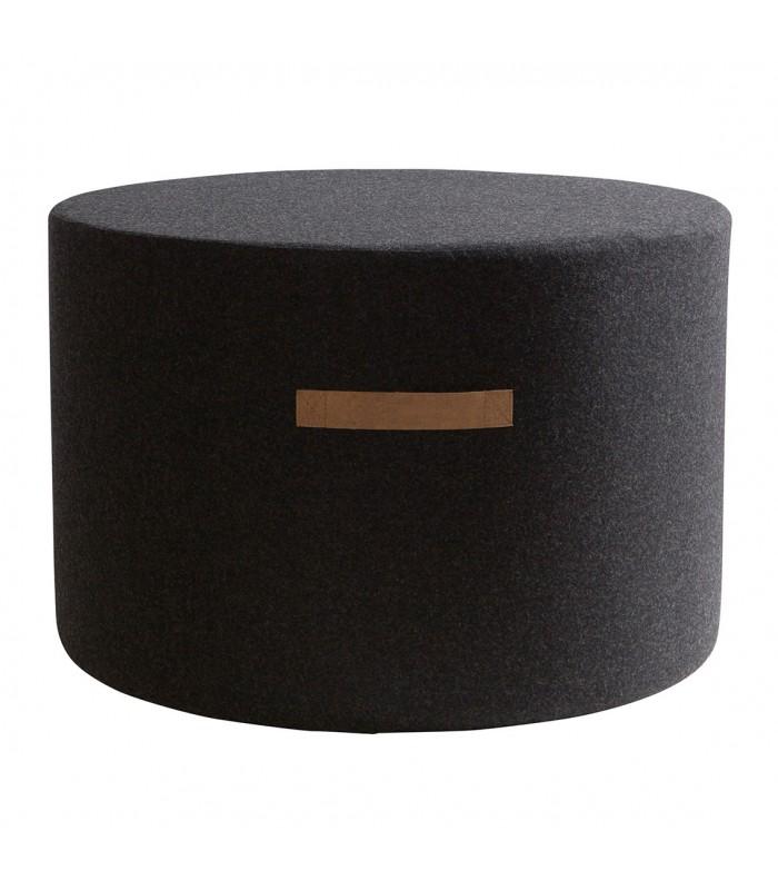 Round Black Wool Pouffe - Large