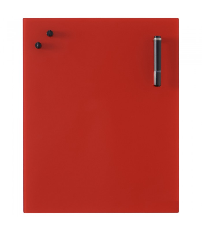 Glass Notice Board - Red