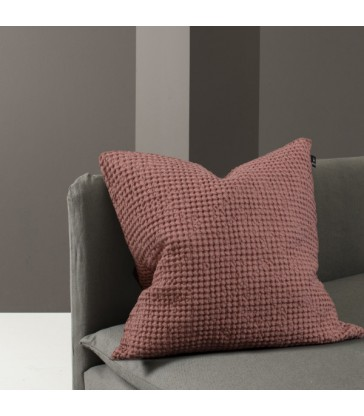 Pink Waffle Cushion linen cotton mix 50x50cm