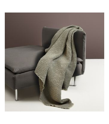 Olive Green Waffle Throw cotton/linen 130x170cm