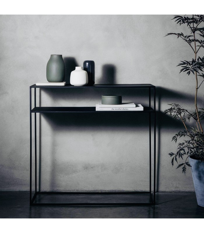 black powder coated steel console table for halls and living rooms