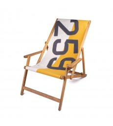 Deckchair from recycled sailcloth Mustard Yellow White