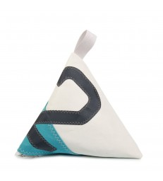 Blue and White Doorstop 2 made from recycled sails