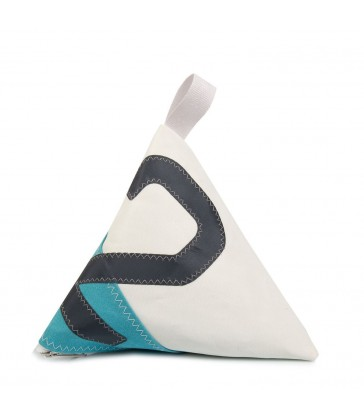 Blue and White Doorstop made from recycled sails