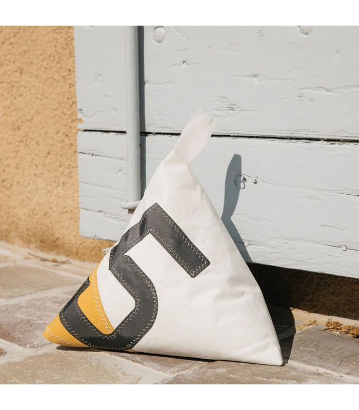 Yellow and White Doorstop 5 made from recycled sails