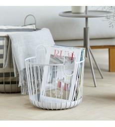 Small Pale Grey Wire Storage Basket