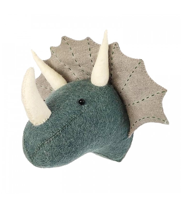 Felt Mini Triceratops grey/blue