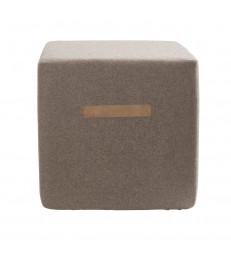Square Brown Wool Pouffe 40x40