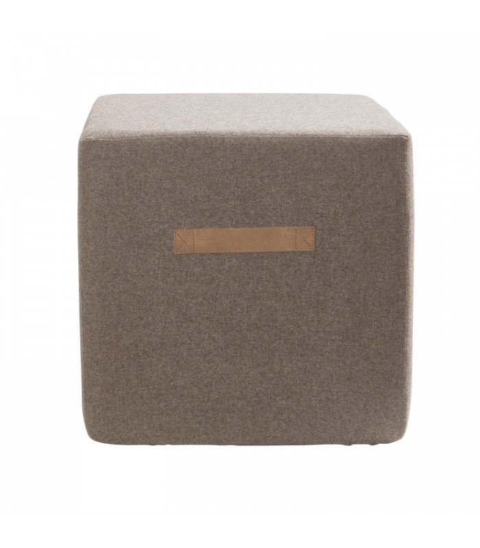 cappuccino brown square wool pouffe from sweden
