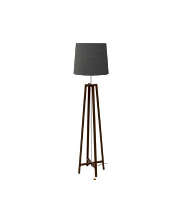dark stained timber floor lamp with matching coffee black lamp shade
