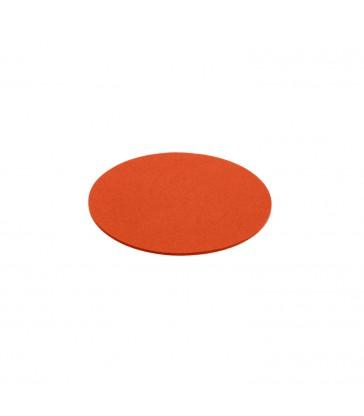 A bright orange felt wool coaster