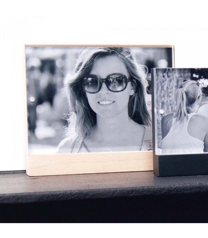 large Magnetic Photo Frame with timber base