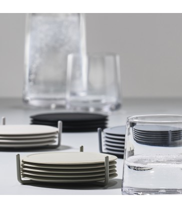 set 6 pale grey coasters in a holder