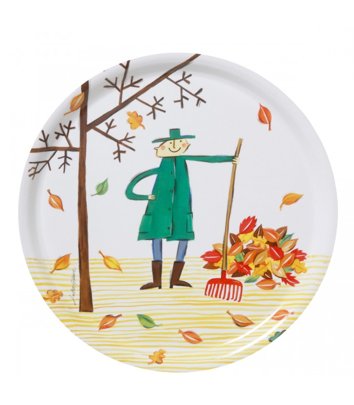 Autumn leaf round tray