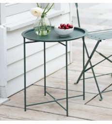 Metal Outdoor Bistro Sml Table - Foldable legs Forest Green