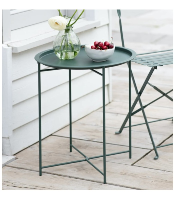 Metal Outdoor Bistro Sml Table - Foldable legs Charcoal