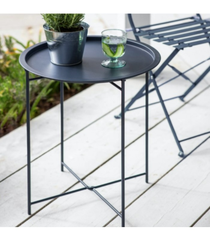 Metal Outdoor Bistro Sml Table - Foldable legs Ink Blue