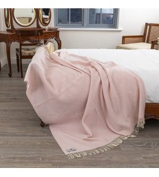 Large Pale Pink Merino & Cashmere Throw