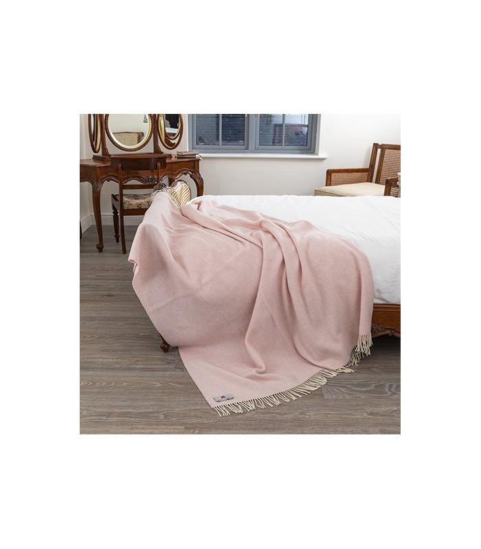 Pale Pink Merino & Cashmere Throw