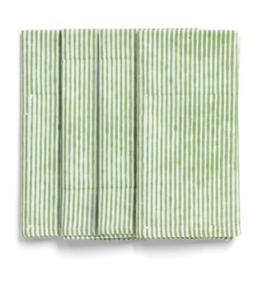 Green Stripe Napkins - Set of 4