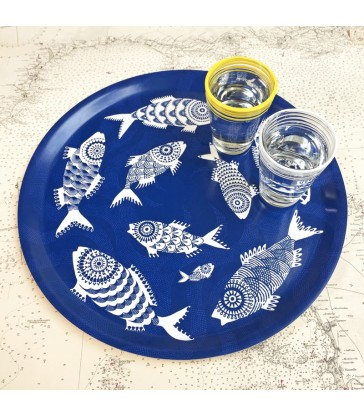Round blue fish tray made in Sweden